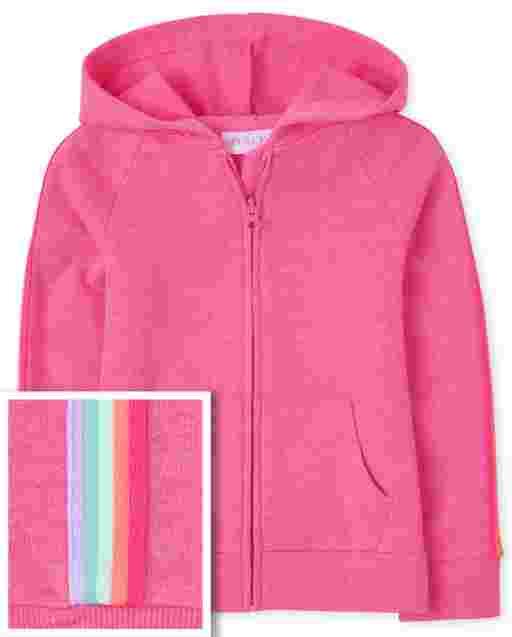 Sudadera con capucha y cremallera de felpa francesa a rayas arcoíris de manga larga para niñas
