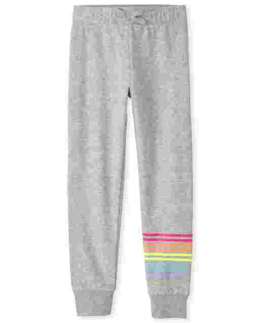 Girls Rainbow Fleece Jogger Pants