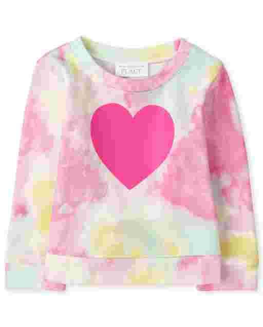 Sudadera con efecto tie dye con gráfico de corazón de manga larga activa para bebés y niñas pequeñas