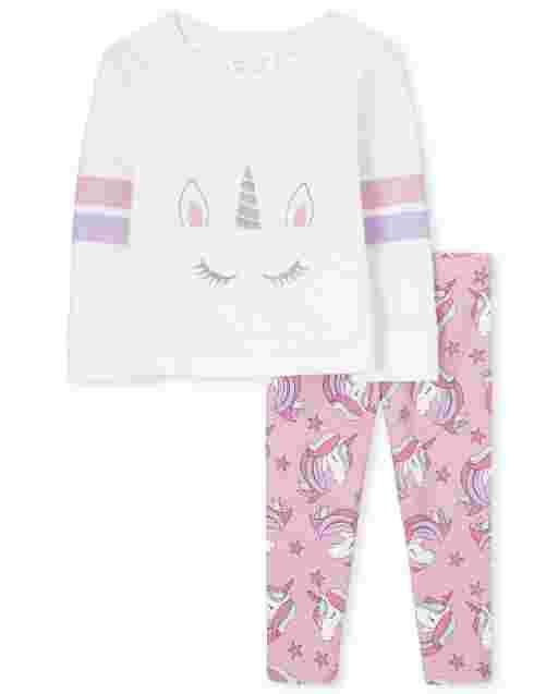 Toddler Girls Active Long Sleeve Unicorn Sweatshirt And Leggings 2-Piece Set