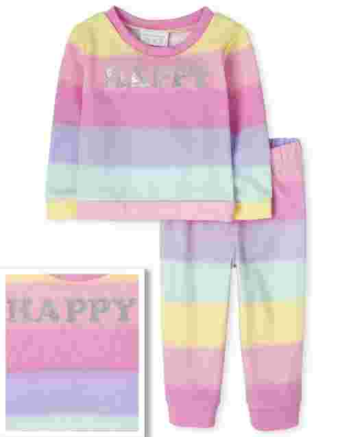 Toddler Girls Active Long Sleeve 'Happy' Sweatshirt And Knit Jogger Pants Rainbow Ombre 2-Piece Set