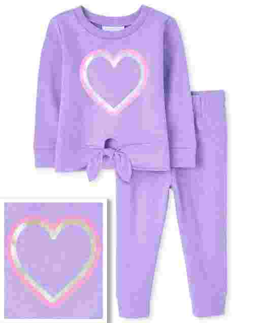 Toddler Girls Active Long Sleeve Heart Tie Front Sweatshirt And Knit Jogger Pants 2-Piece Set