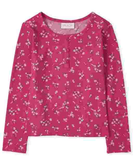 Camiseta henley de punto acanalado con estampado floral de manga larga para niñas