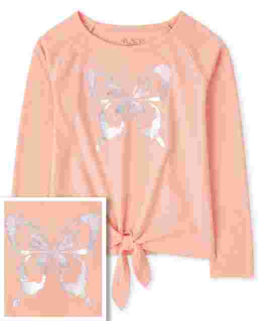 Girls Long Sleeve Holographic Butterfly Graphic Tie Front Top