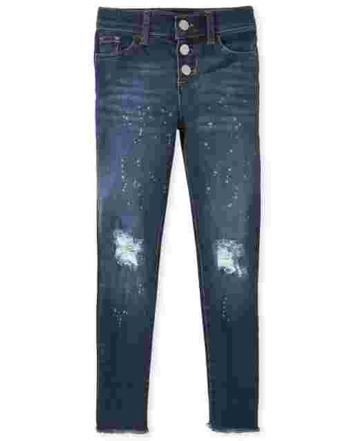 Girls Paint Splatter Super Skinny Jeans
