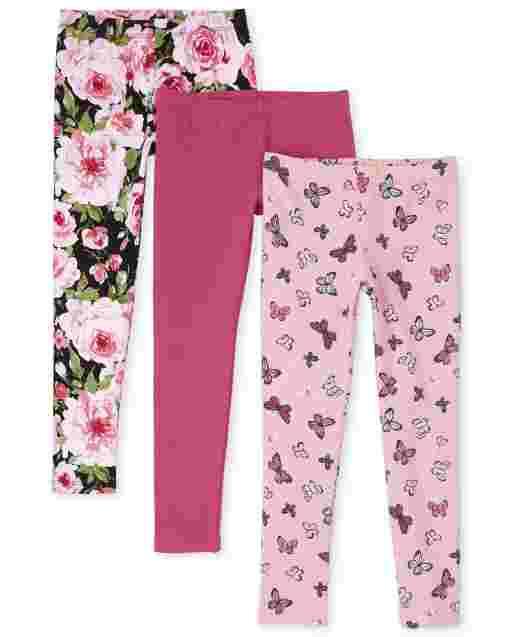 Girls Print Knit Leggings 3-Pack