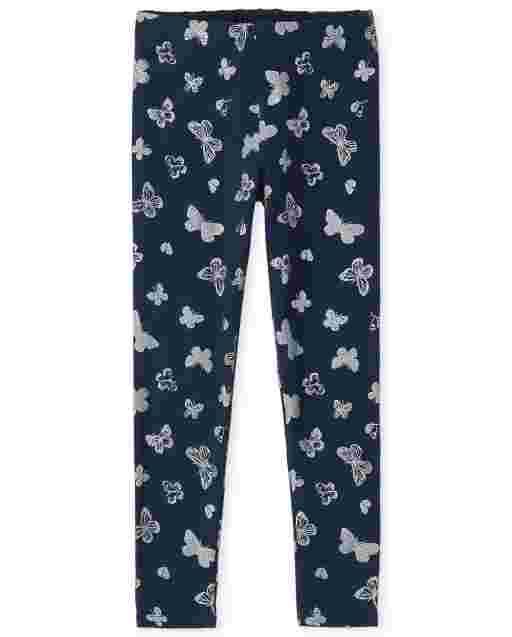 Girls Glitter Butterfly Print Knit Leggings
