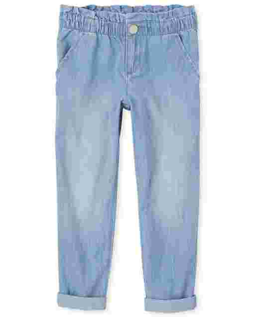 Girls Denim Paper Bag Waist Pants