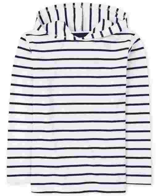 Sudadera con capucha a rayas de manga larga para niños