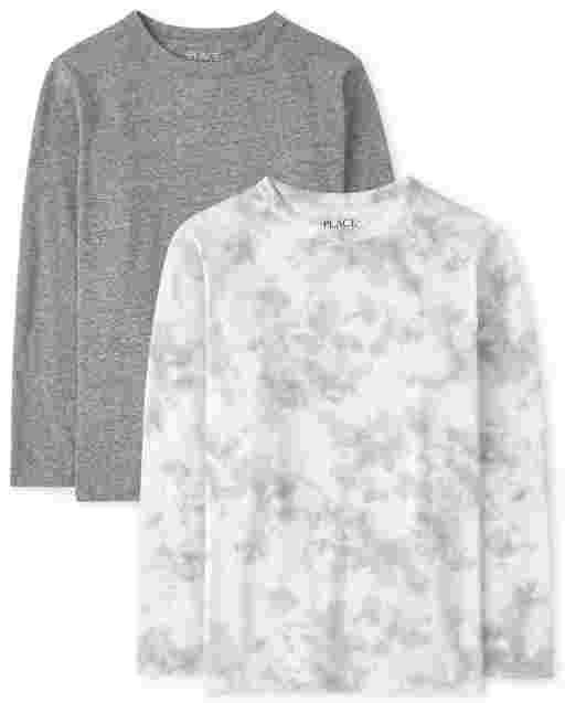 Pack de 2 camisetas de manga larga con efecto tie dye para niños
