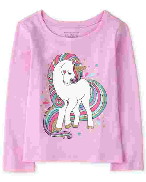 Baby And Toddler Girls Long Sleeve Unicorn Graphic Tee
