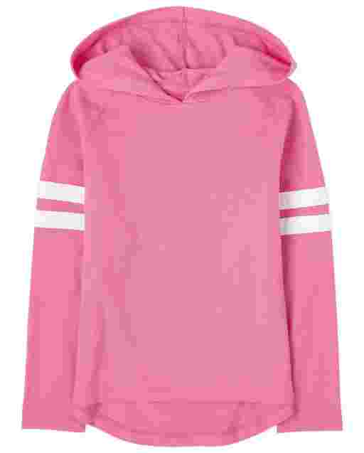 Girls Long Striped Sleeve Jersey Hoodie Top