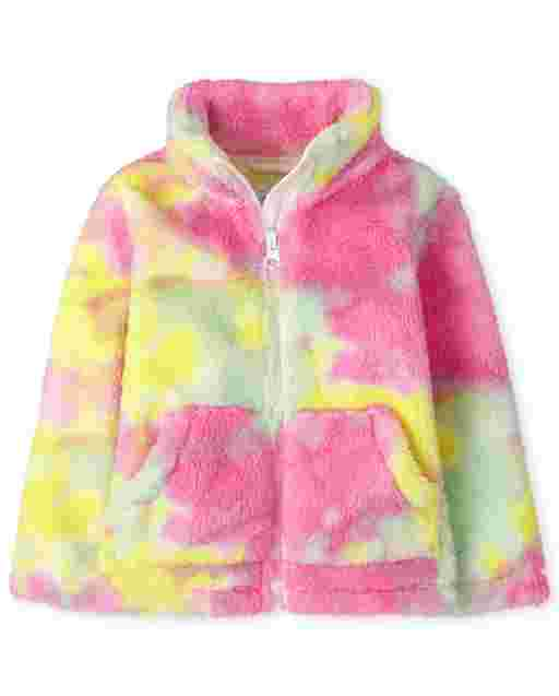 Baby And Toddler Girls Long Sleeve Tie Dye Sherpa Zip Up Mock Neck Jacket