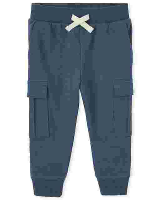 Pantalones tipo jogging cargo de felpa francesa activa para bebés y niños pequeños
