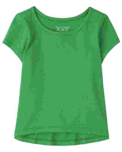 Baby And Toddler Girls Short Sleeve High Low Basic Layering Tee