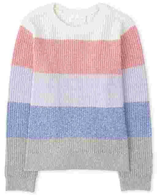 Girls Long Sleeve Metallic Striped Sweater