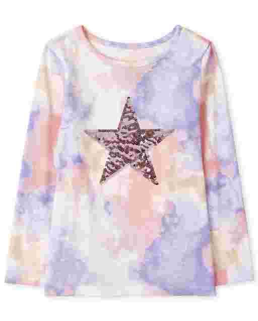 Girls Long Sleeve Star Graphic Tie Dye Top
