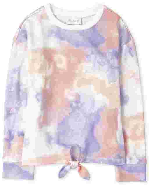 Girls Active Long Sleeve Tie Dye Fleece Tie Front Top