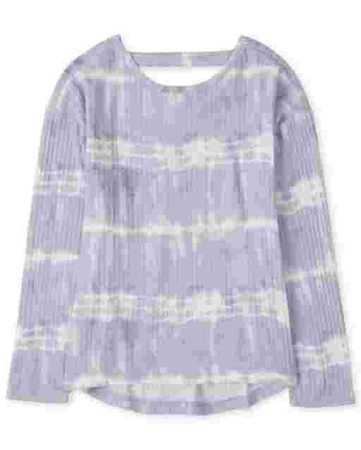 Suéter ligero con corte tie dye de manga larga para niñas