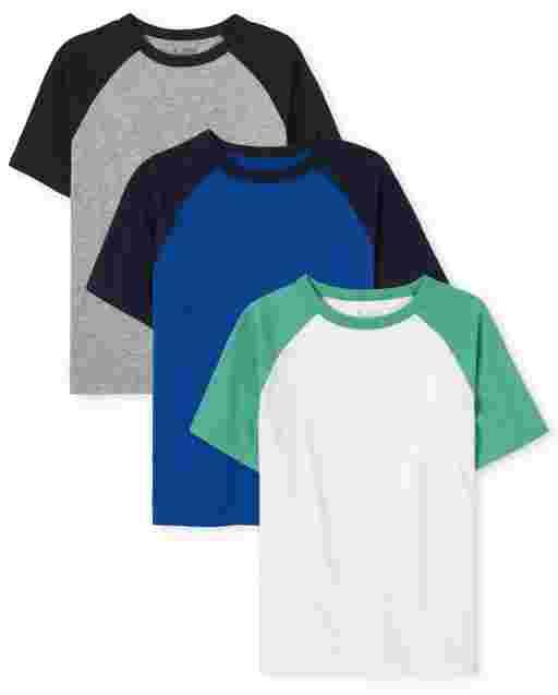 Boys Short Sleeve Raglan Top 3-Pack
