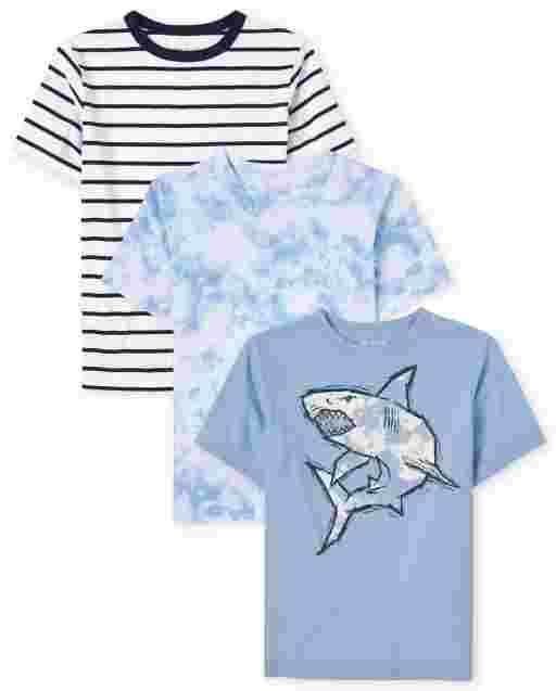 Boys Short Sleeve Shark Tie Dye And Striped Top 3-Pack