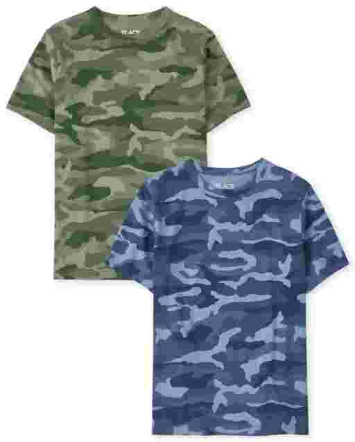 Boys Short Sleeve Camo Top 2-Pack