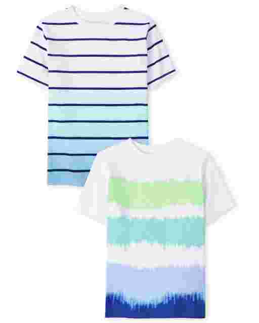 Boys Short Sleeve Striped Top 2-Pack