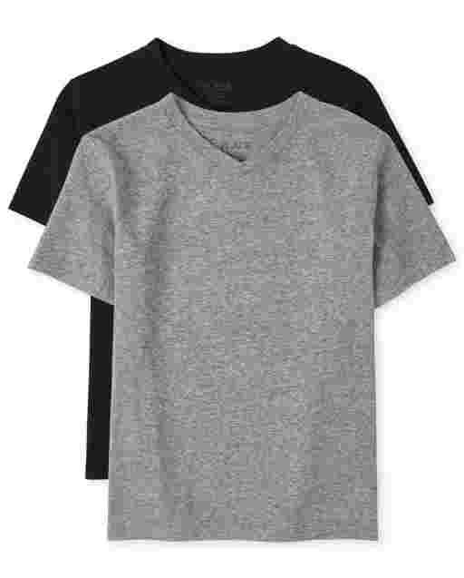 Boys Short Sleeve V Neck Top 2-Pack