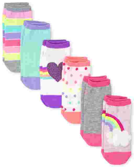 Girls Rainbow Heart Ankle Socks 6-Pack