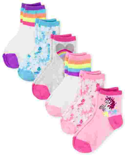 Girls Tie Dye Midi Socks 6-Pack