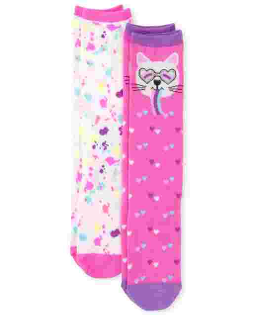 Girls Cat Knee Socks 2-Pack