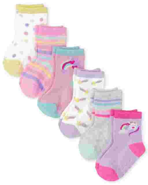 Toddler Girls Rainbow Midi Socks 6-Pack