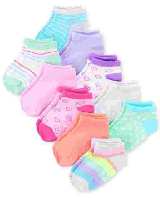 Toddler Girls Rainbow Ankle Socks 10-Pack