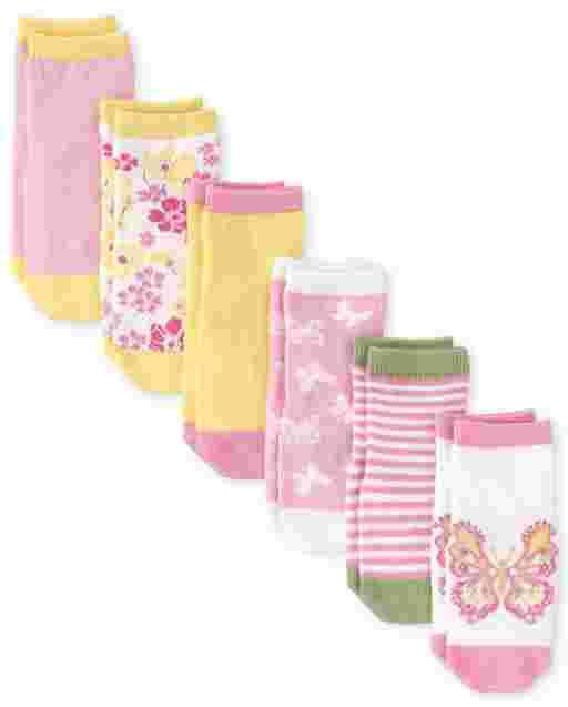 Toddler Girls Butterfly Midi Socks 6-Pack
