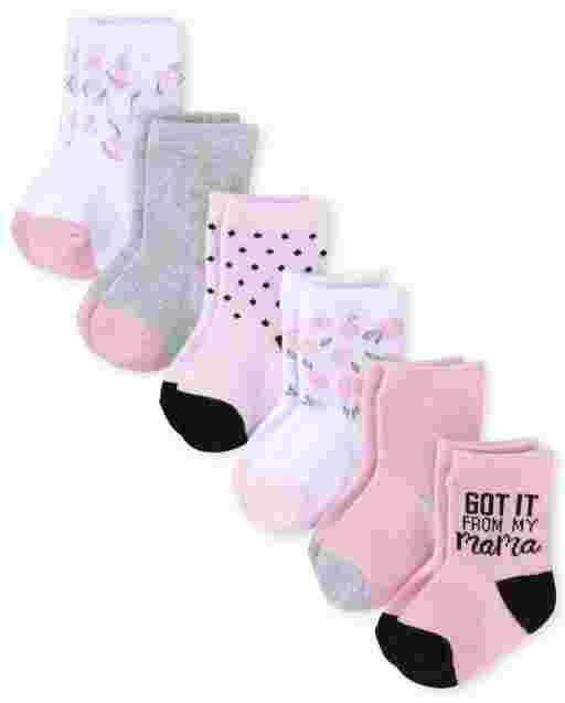 Baby Girls Floral Midi Socks 6-Pack