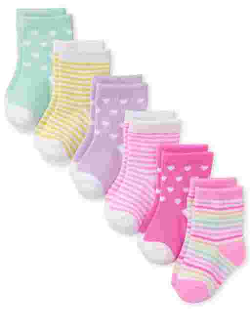 Baby Girls Striped Heart Midi Socks 6-Pack