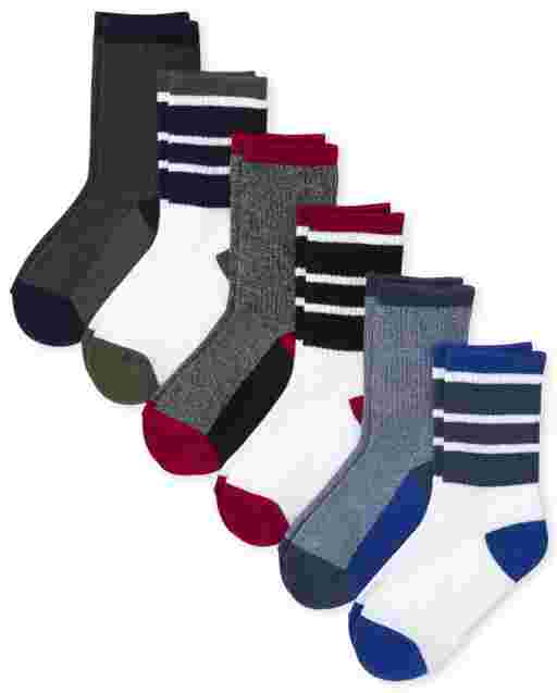 Boys Cushioned Crew Socks 6-Pack