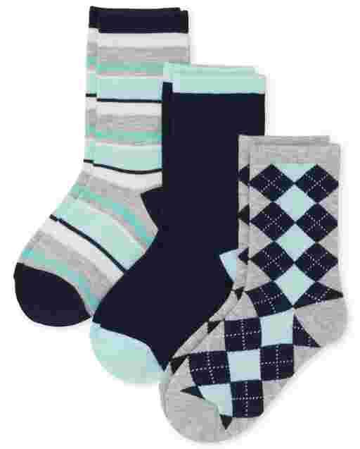 Boys Dressy Crew Socks 3-Pack
