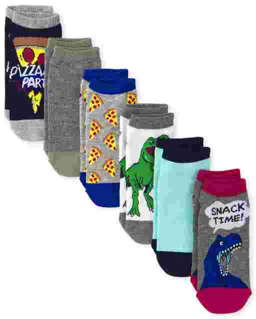 Boys Dino Pizza Ankle Socks 6-Pack