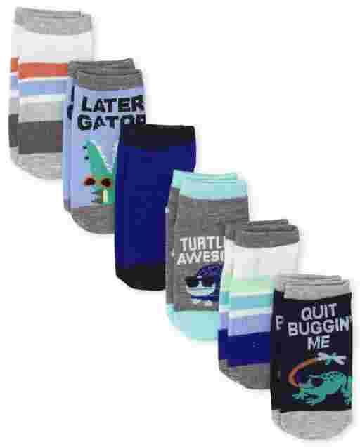 Toddler Boys Reptile Ankle Socks 6-Pack