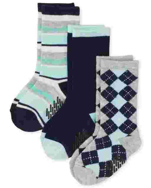 Toddler Boys Dressy Crew Socks 3-Pack