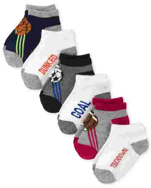 Toddler Boys Sport Ankle Socks 6-Pack