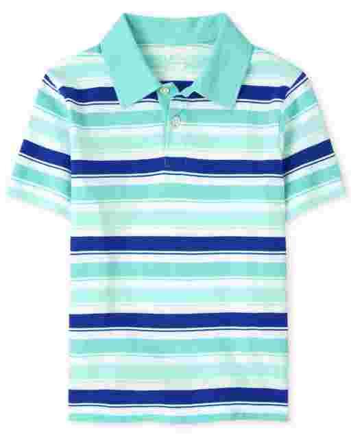 Boys Short Sleeve Striped Jersey Polo