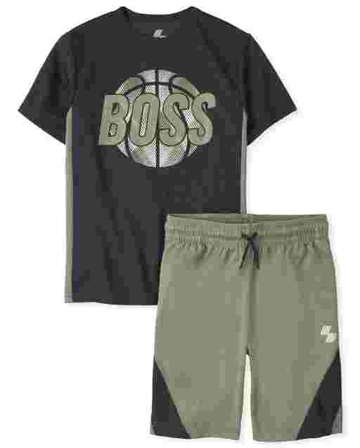 Boys PLACE Sport Short Sleeve Graphic Top And Knit Basketball Shorts Performance Active Set