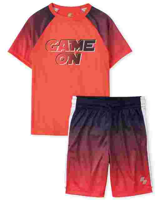 Boys PLACE Sport Short Raglan Sleeve Top And Knit Basketball Performance Set