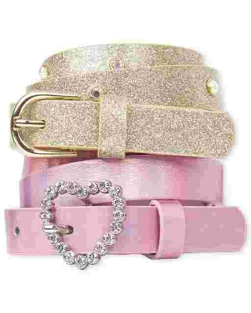 Girls Heart Belt 2-Pack