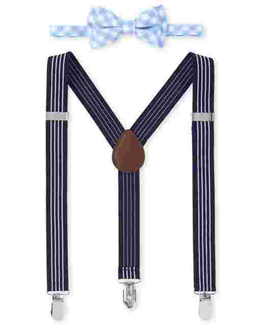 Boys Plaid Bow Tie And Suspenders Set