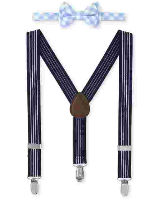 Toddler Boys Plaid Bow Tie And Suspenders Set