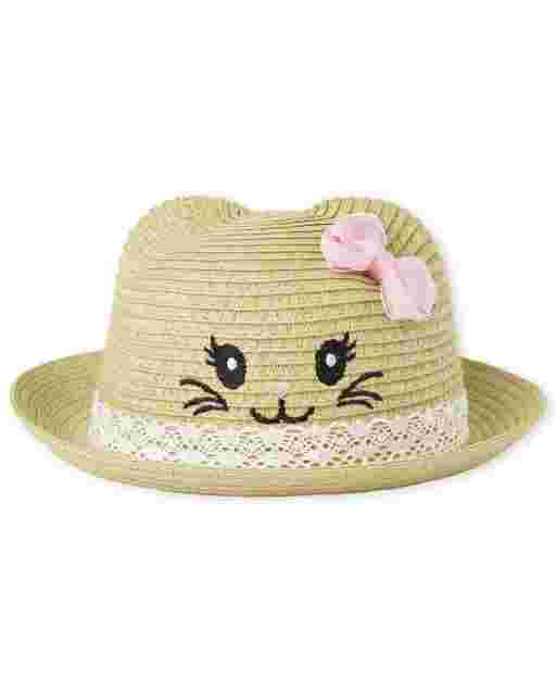 Baby Girls Cat Straw Hat
