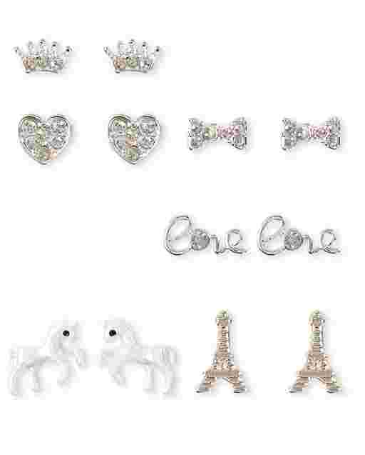 Girls Paris Princess Earrings 6-Pack